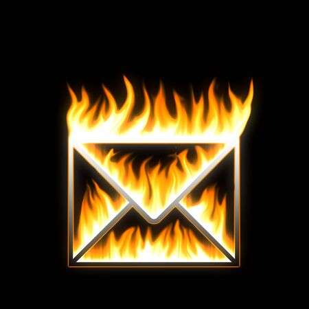 entering information: MAIL. Flaming MAIL. Stock Photo