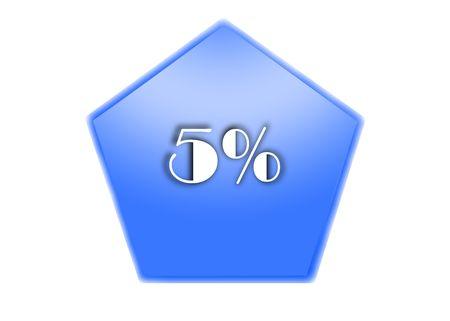 per cent: 5 per cent Stock Photo