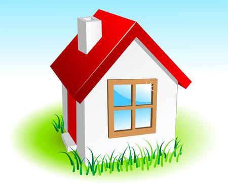 fachada de casa: Peque�a casa  Vectores