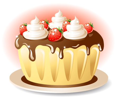 an icing: Tasty cake with chocolate cream and strawberry Illustration