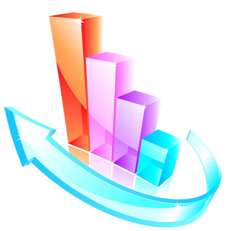 3d glass graph Stock Vector - 7688389