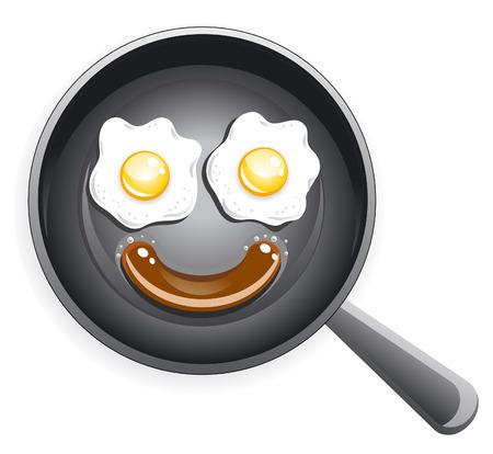 Glimlach! Gebakken eieren en worst op koeken pan