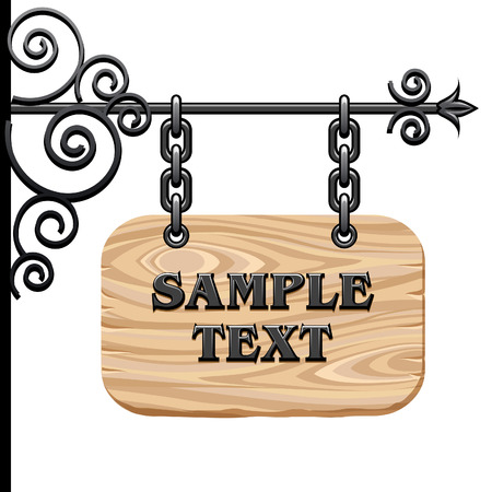 Wooden signboard Stock Vector - 7688390