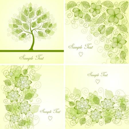 tree sketch: Set of vintage floral backgrounds