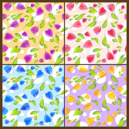 Set of seamless floral patterns Vector