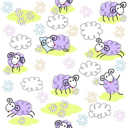 Nahtlose Muster mit niedlichen Schafe Illustration