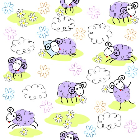Seamless pattern with cute sheeps  Vector