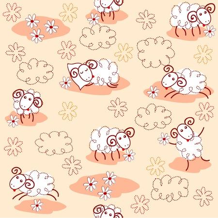 Nahtlose Muster mit niedlichen Schafen