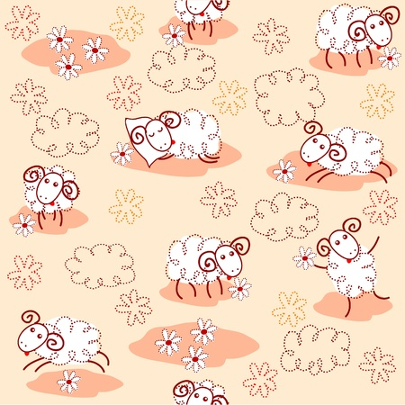 bleating: Seamless pattern with cute sheep