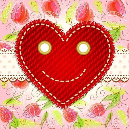 Cute smiling heart Stock Vector - 11995119