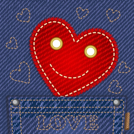 sewing cotton: Cute smiling heart in jeans pocket Illustration