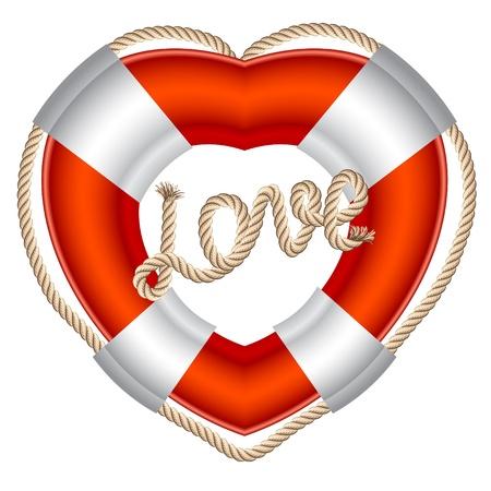 Cinturón salvavidas corazón san valentín Ilustración de vector