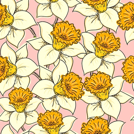 daffodils: Seamless pattern with daffodil