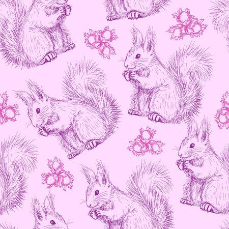 Seamless avec des écureuils Vecteurs