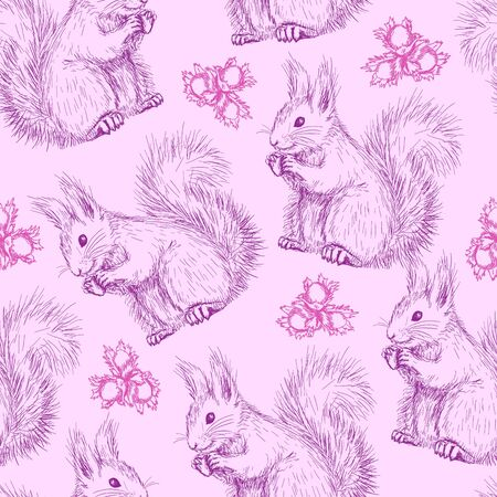 red squirrel: Seamless pattern with squirrels
