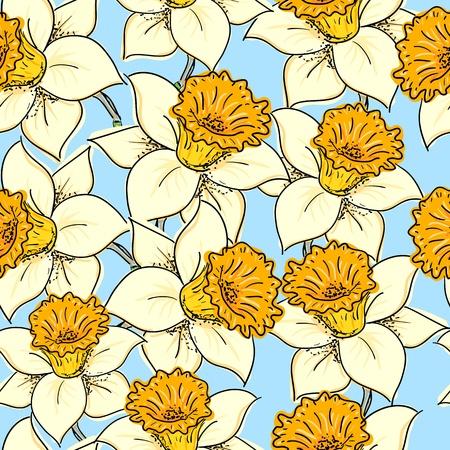 daffodil: Seamless pattern with daffodil