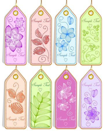 Set of cute tags Vector