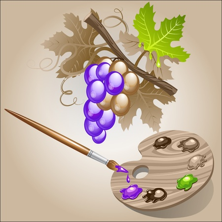 Coloring the grape Vector