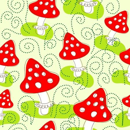cartoon mushroom: Seamless pattern with mushrooms