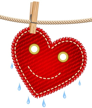 drying: Textile red heart on a clothesline