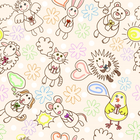 sweet love: Childe drawing seamless pattern