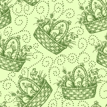 gift basket: Easter seamless pettern Illustration