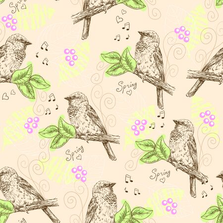 seamless pattern with sparrows Vector
