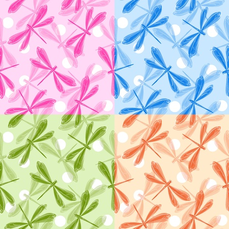 Set of dragonfly seamless patterns Vector