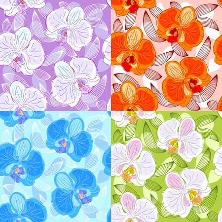 Seamless floral pattern with orchids Stock Vector - 13186388