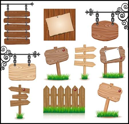 marco madera: Juego de madera sigboards Vectores