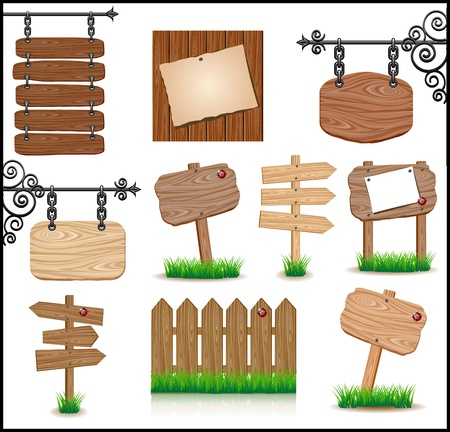 fence panel: Set of wooden sigboards Illustration