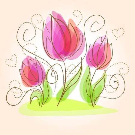 Nette Blumen-Karte Illustration