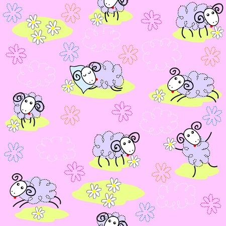 ovejita bebe: Patr�n sin fisuras con ovejas lindos en un prado Vectores