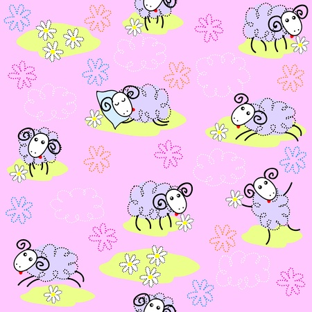 Seamless pattern with cute sheeps on a meadow Vector