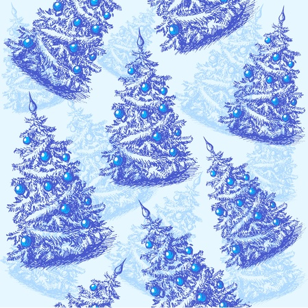 Seamless pattern with hand drawn christmas trees Vector
