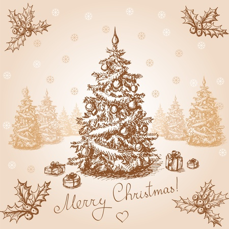 Hand drawn christmas card in vintage stile Vector