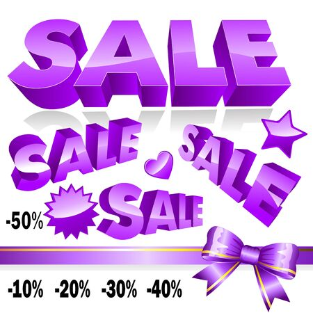Set of 3d violet sale icons Stock Vector - 13353976