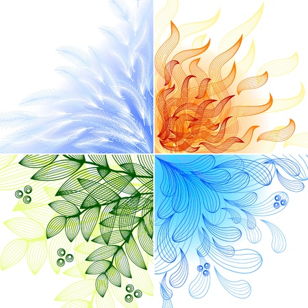 4 leaf: 4 elements. Set of four beautiful backgrounds