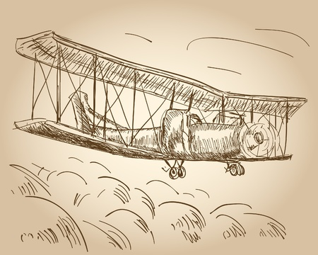 air war: hand drawn airplane Illustration