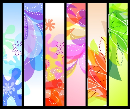 abstract flower: Set of six vertical decorative banners backgrounds Illustration