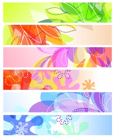 Set of six horizontal decorative banners backgrounds Stock Vector - 13354037