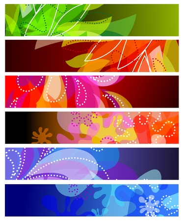 Set of six horizontal decorative banners backgrounds Stock Vector - 13354042