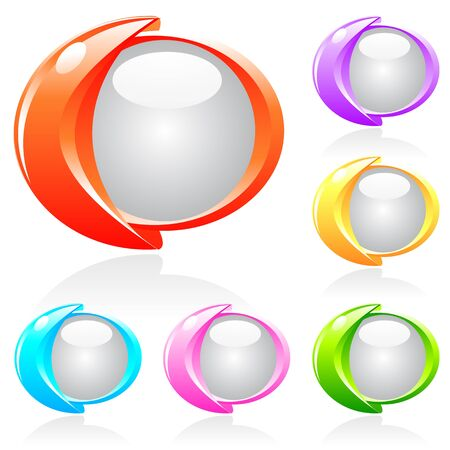 shiny buttons: Set of futuristic shiny buttons in different colors Illustration