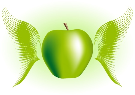Green apple with wings Vector