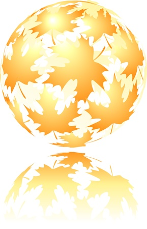 Autumn sphere made from falling maple leaves Stock Vector - 13353959