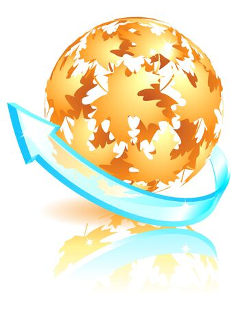 Autumn sphere made from falling maple leaves Stock Vector - 13353965