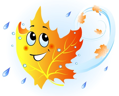 rain cartoon: Cute falling maple leaf in autumn rain