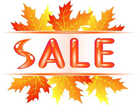 special price: Autumn sale ad with falling maple leaves Illustration