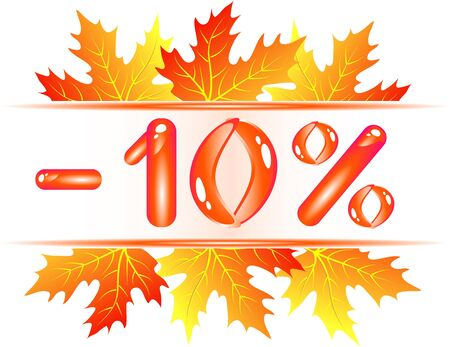 maple syrup: Autumn sale ad with falling maple leaves. 10 percent discount