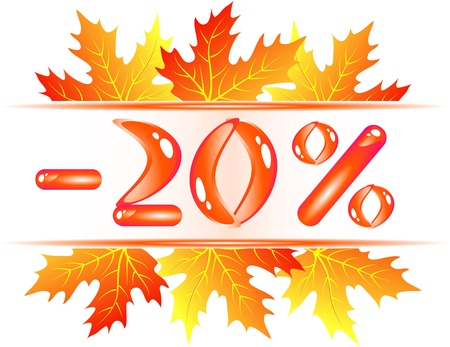 syrup: Autumn sale ad with falling maple leaves. 20 percent discount